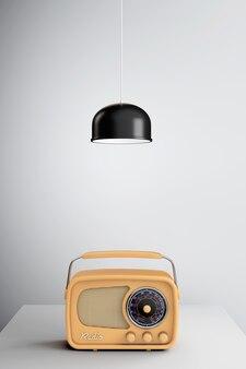 Vintage radio unter metalllampe auf dem holztisch. 3d-rendering