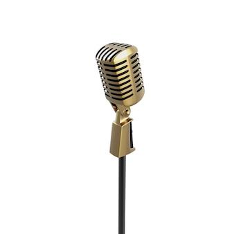 Vintage retro-mikrofon isoliert auf weißem gold-sprachgerät für musikaufführungen im stehen