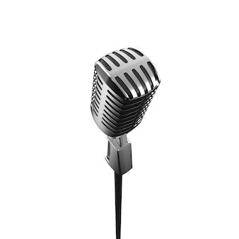 Vintage retro-mikrofon-metall-sprachgerät-illustration für musikaufführungen im stehen