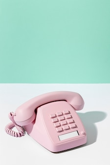 Vintage rosa telefonanordnung