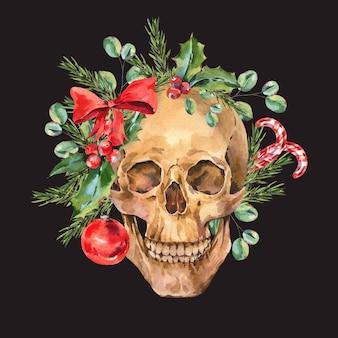 Vintage schädelillustration. aquarell bad santa christmas, blumenschädel-grußkarte auf schwarz