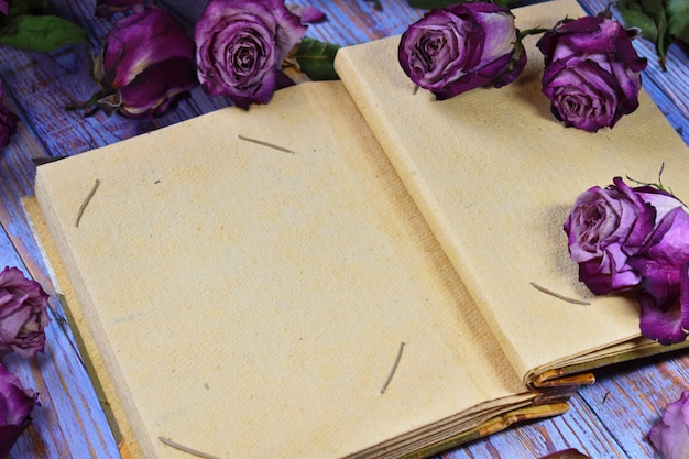 Vintage schönes foto von trockenen knospen und fotoalbum. zerbrechlichkeit des lebens. kraftpapier leeres fotoalbum mit platz für ihren text.