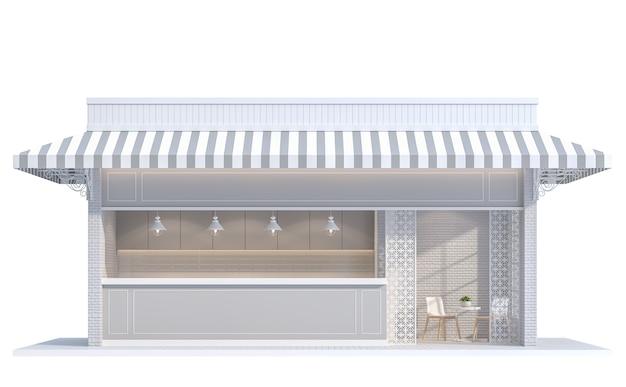Vintage-shop auf weißem hintergrund 3d-renderingdekorieren mit weißem backstein-wallcanvas-baldachin