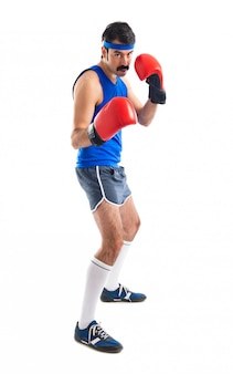 Vintage sportler mit boxhandschuhen