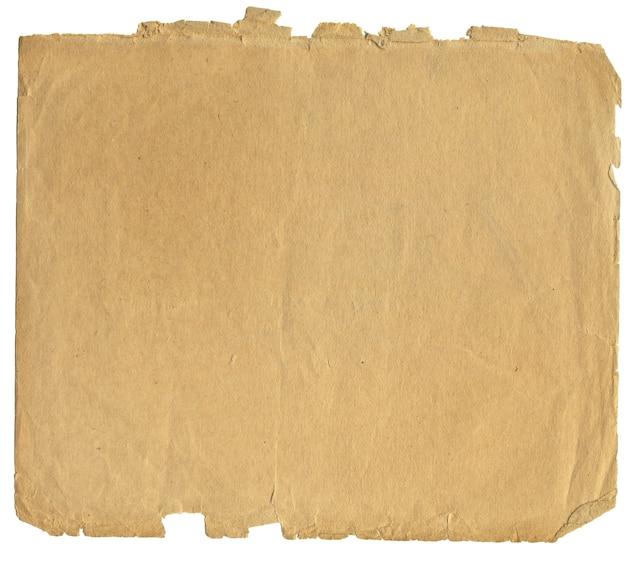 Vintage stück papier, das isoliert auf einem weißen hintergrund mit einem weg für ps gesetzt wird