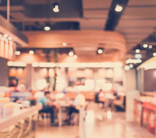 Vintage style - verschwommenes luxus-restaurant im einkaufszentrum