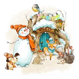 Vintage weihnachtsgrußkarte. waldmärchenhaus mit schnee bedeckt. netter hund, schneemann, kitz, kleiner igel. feiertagsillustration.