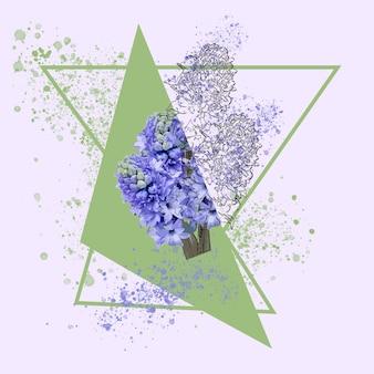 Violett. blumenaquarellillustration der fantasieblume in den schönen farben. modernes geometrisches und spritzer-design mit exemplar für werbung. frühling, hochzeit, karte zur begrüßung des mutter-, frauentages.