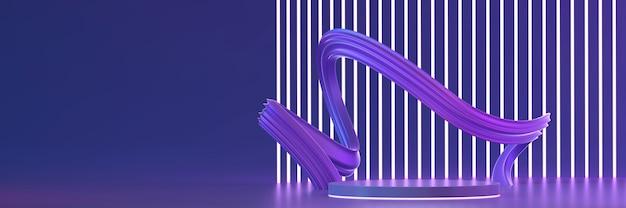 Violette bühnenplattform mit neonlicht für produktanzeige 3d-rendering