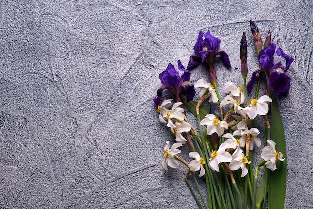 Violette iris und weiße narzissen