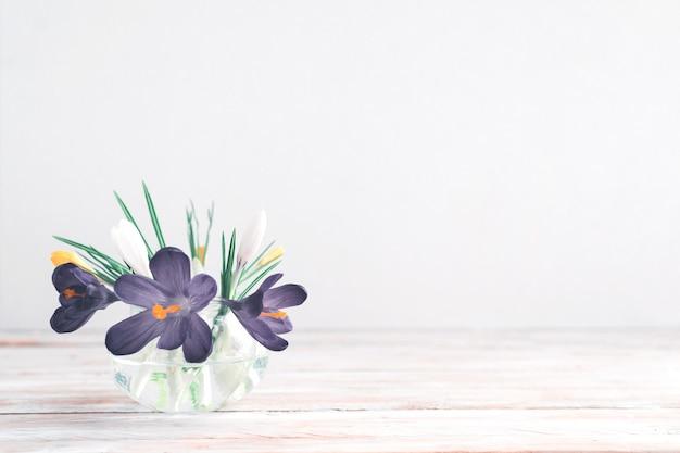 Violetter frühling blüht im glasvase auf weißem hölzernem hintergrund mit kopienraum.