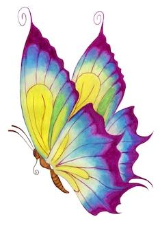 Violetter schmetterling aquarell abbildung auf einem weißen hintergrund kinderbild schmetterling isoliert