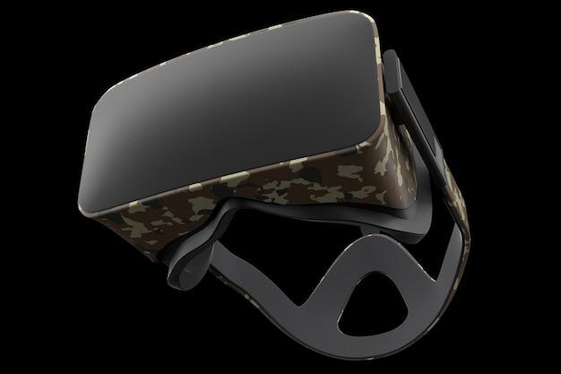 Virtual-reality-brille isoliert auf schwarz mit beschneidungspfad d-rendering