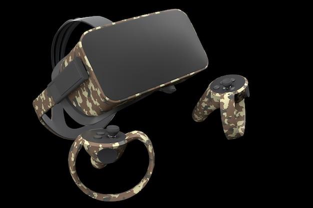Virtual-reality-brille und -controller für online-gaming isoliert auf schwarz