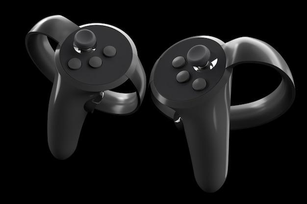 Virtual-reality-controller für online- und cloud-gaming einzeln auf schwarz mit beschneidungspfad. 3d-rendering des geräts für augmented reality oder vr