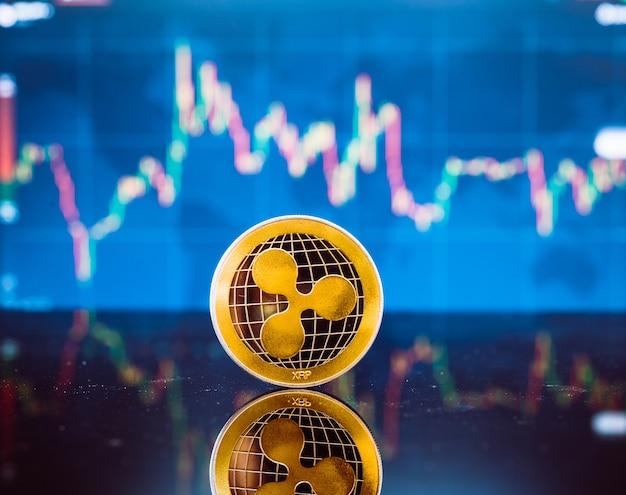 Virtuelle goldmünze und geldwährung auf digitalem kerzenstab-diagramm