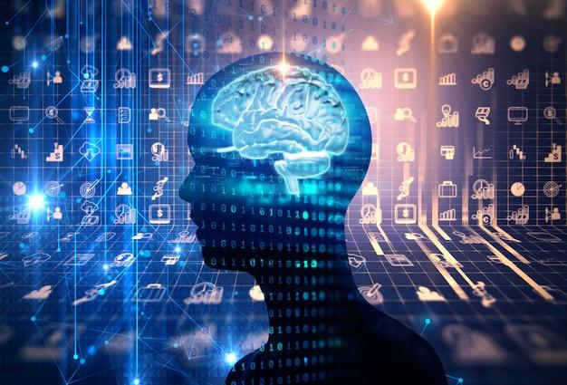 Virtuelle menschliche abstrakte abbildung des technologiehintergrundes 3d