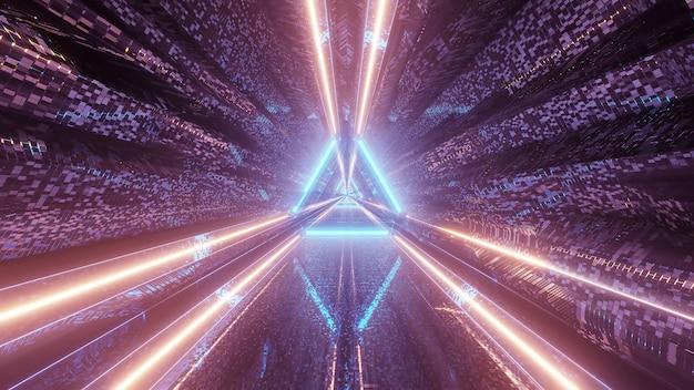 Virtuelle projektion von lichtern, die dreieckige muster bilden und vorwärts fließen