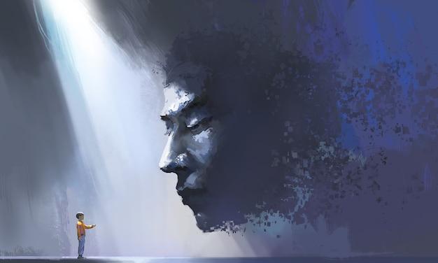 Virtuelle und realistische kommunikation, futuristische illustrationen, digitale malerei.
