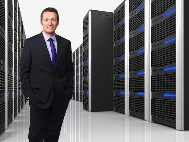 Virtueller server 3d und mann