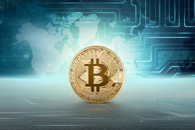 Virtuelles geld goldenes bitcoin