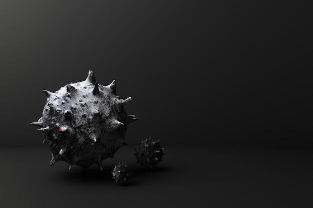Virus auf 3d-rendering des schwarzen hintergrunds
