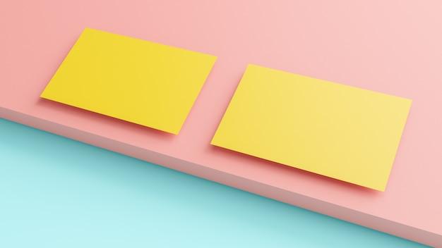 Visitenkarte gelbe farbe auf rosa und blau