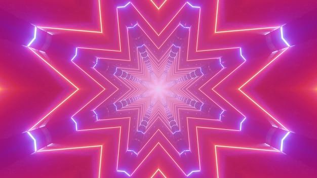 Visuelle abstrakte kunst der 3d illustration mit geometrischen neonlinien, die sternförmiges muster für festlichen nachtpartydekorationshintergrund schaffen