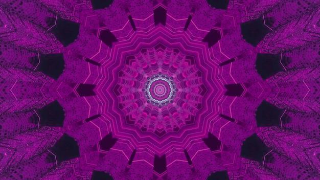 Visueller abstrakter hintergrund der perspektive der 3d-illustration mit symmetrischem kaleidoskopischem spitzenmuster und kreisförmigem blumenzentrum in neonpurpurnen farben