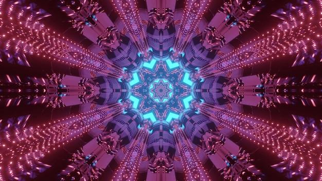 Visueller futuristischer hintergrund der lebendigen abstrakten kunst der lebendigen 3d-illustration mit kaleidoskopischem dekorativem blumenformdesign in glänzenden neonfarben
