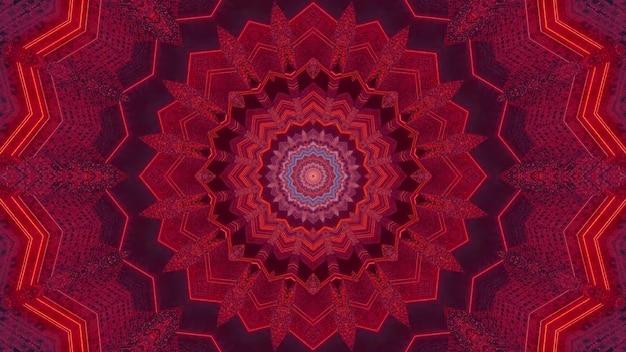 Visueller hintergrund der 3d-illustration mit abstraktem kaleidoskopischem blumenförmigem design in rottönen mit neonlichteffekt, der die illusion eines fantastischen science-fiction-tunnels erzeugt
