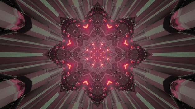 Visueller hintergrund der abstrakten kunst der 3d-illustration des sci-fi-raumportals in form eines sterns mit symmetrischen geometrischen linien und roter neonbeleuchtung