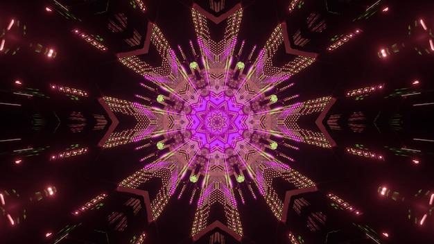 Visueller hintergrund der abstrakten kunst der bunten 3d illustration der blumenförmigen symmetrischen neonbeleuchtung mit hellen glitzern in der dunkelheit