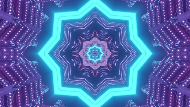 Visueller hintergrund der abstrakten kunst der lebendigen 3d-illustration mit geometrischem stern- und blumenmuster, das die illusion eines fantastischen futuristischen tunnels in neonfarben bildet