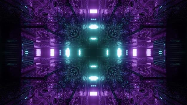 Visueller hintergrund der abstrakten kunst der lebendigen sci-fi-3d-illustration des fantastischen raumfahrttunnels mit kreuzförmigen neonlichtern in den farben blau und lila