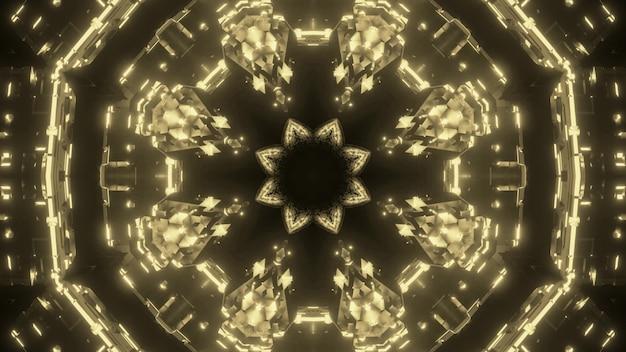 Visueller hintergrund der abstrakten kunst mit kaleidoskopischem geometrischem ornament des goldenen kristalls mit lichteffekten