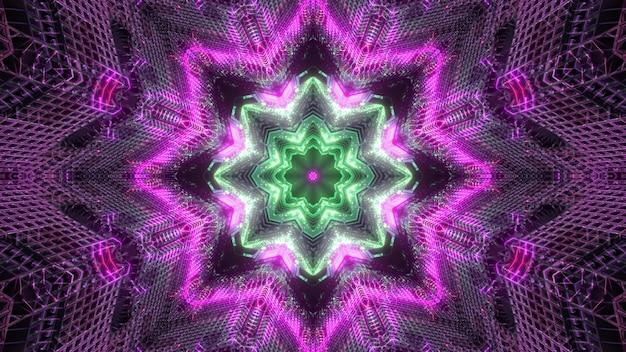 Visueller hintergrund der hellen bunten 3d illustration mit leuchtendem neon-symmetrischem sternförmigem kaleidoskopischem muster