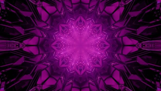 Visueller hintergrundentwurf der abstrakten kunst der 3d illustration mit sternförmigem neonpurpurmuster des kaleidoskops