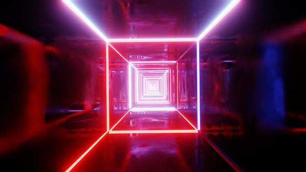 Vj-tunnel mit neon-glühlicht. 3d-darstellung.