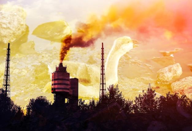 Vogel steckte in verschmutztem wasser mit teer fest. fabrikrohr im hintergrund. sterbende tiere in industrieabfällen. schmutzige flüsse und ozeane mit öl. umweltproblem. schädlicher mensch. ökologisches desaster.