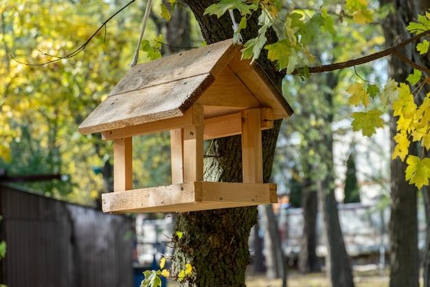 Vogel- und eichhörnchenfutterautomat, der an einem baum im park hängt