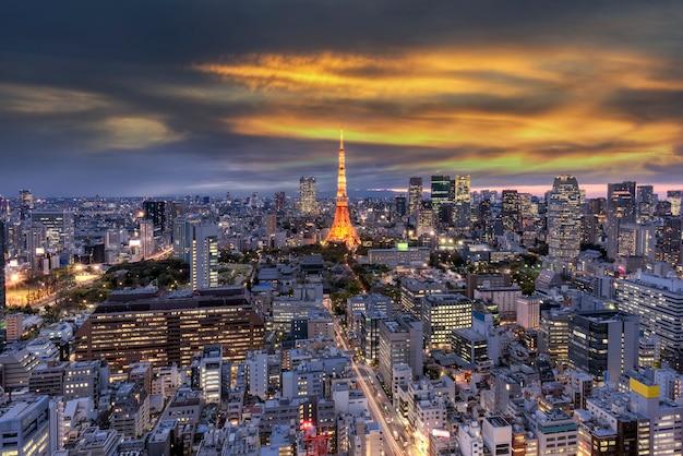 Vogelaugenansicht der stadt in tokyo japan.