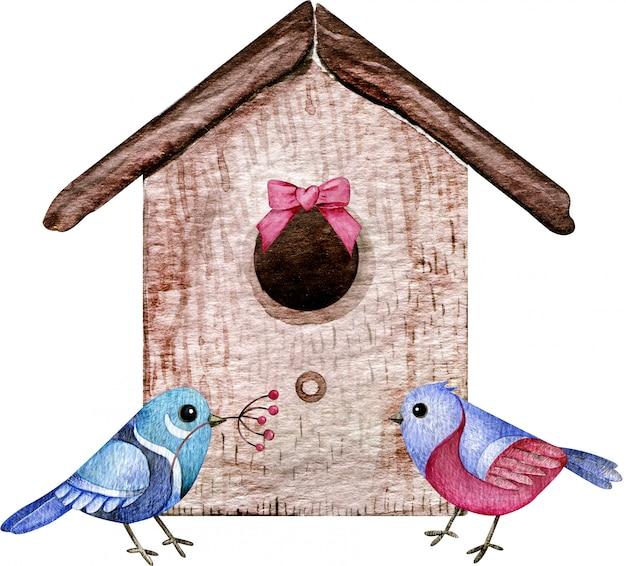 Vogelpaar mit dem haus. aquarellillustration der vogelliebe, familie. cartoon-stil.