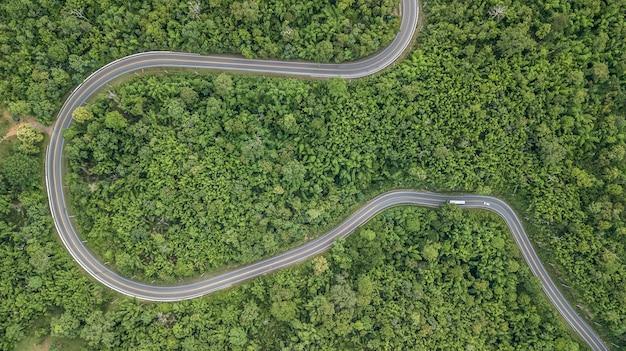 Vogelperspektive der waldstraße, vogelperspektive von provinziellem roa