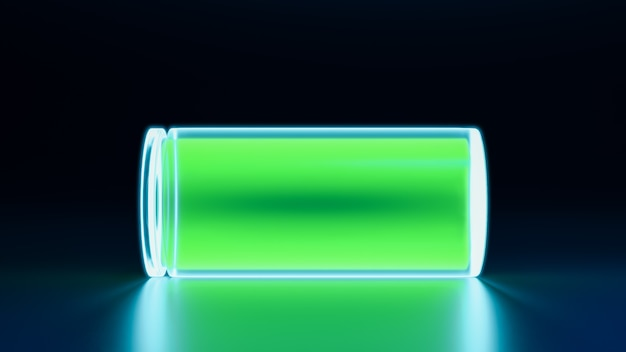 Voll aufgeladener 3d-akku, neonleuchtendes aufladen von smartphone-geräten, illustration des konzepts der energie- und energietechnologie