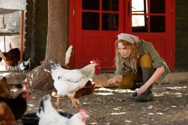 Voll erschossene frau füttert hühner auf dem bauernhof