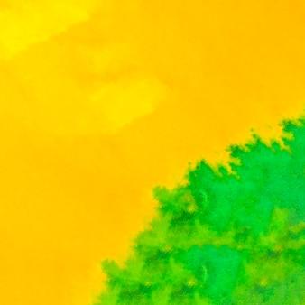 Voller rahmen des hellen gelben und grünen aquarellhintergrundes