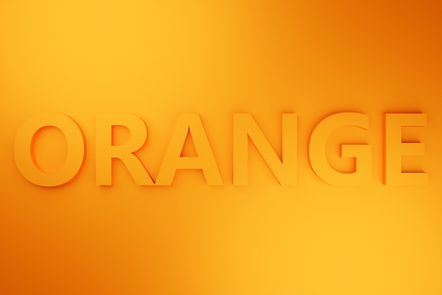 Volumetrische inschrift der 3d-illustration in orange-buchstaben auf einem hellen orange isolierten hintergrund. farbsymbol