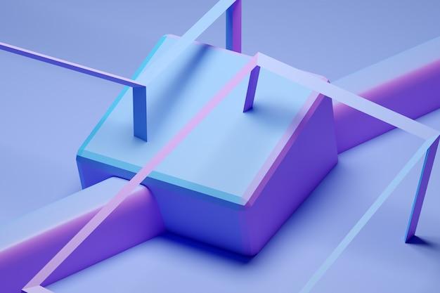 Volumetrischer rosa und blauer würfel der 3d-illustration auf einem geometrischen monophon.