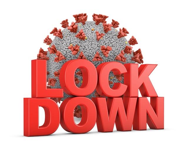 Volumetrischer roter text lockdown auf dem hintergrund des coronavirus. 3d rendern